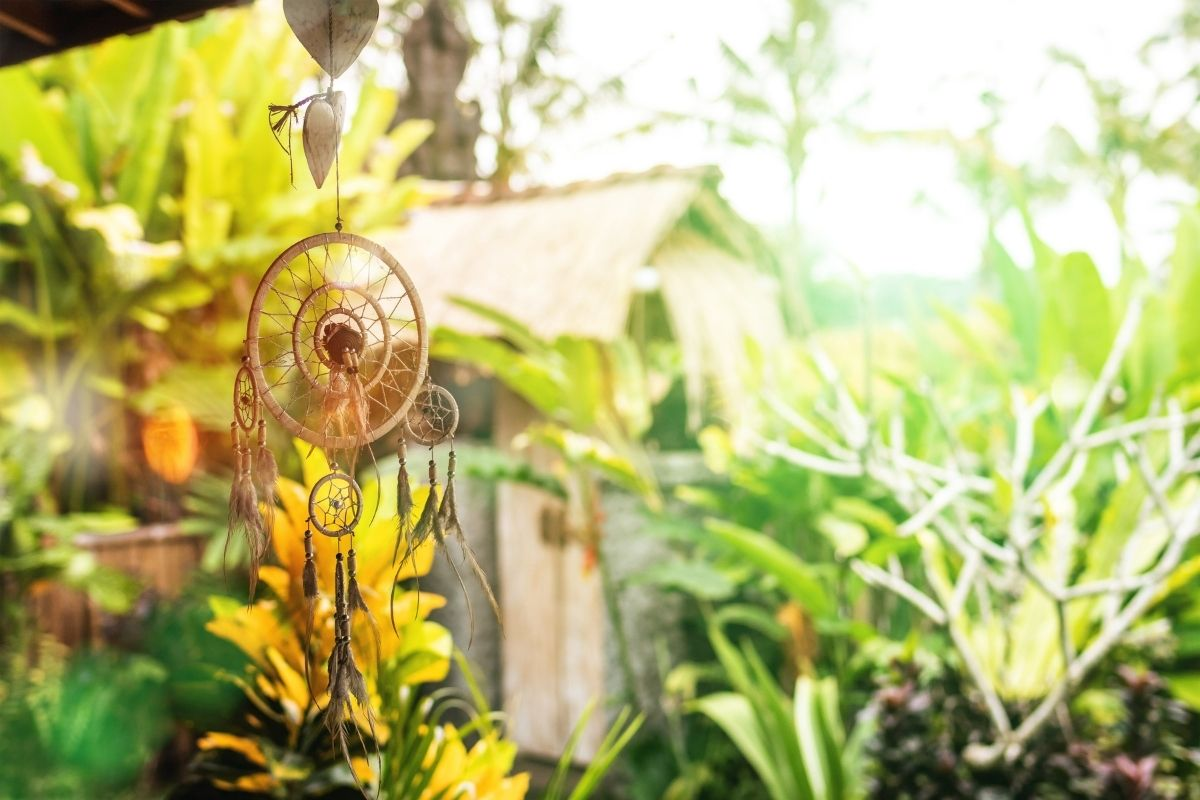 dreamcatcher in garden
