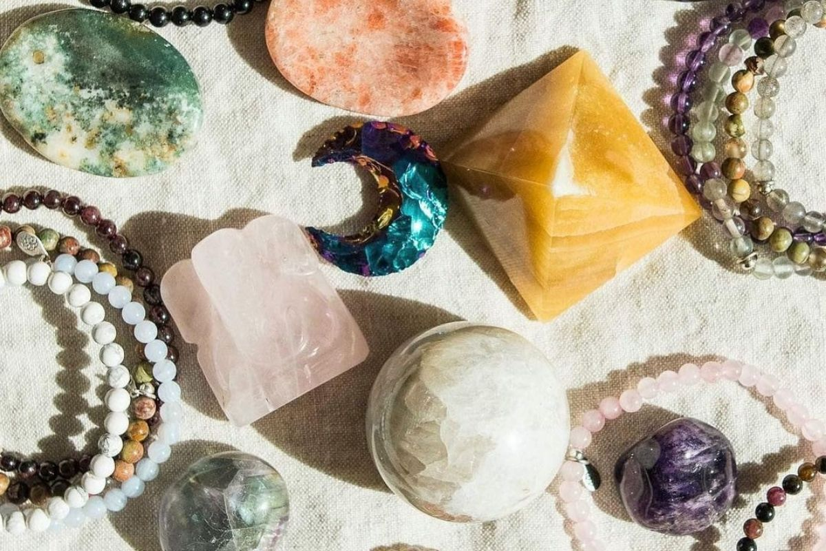 collection if gemstones, pyramids, and spheres