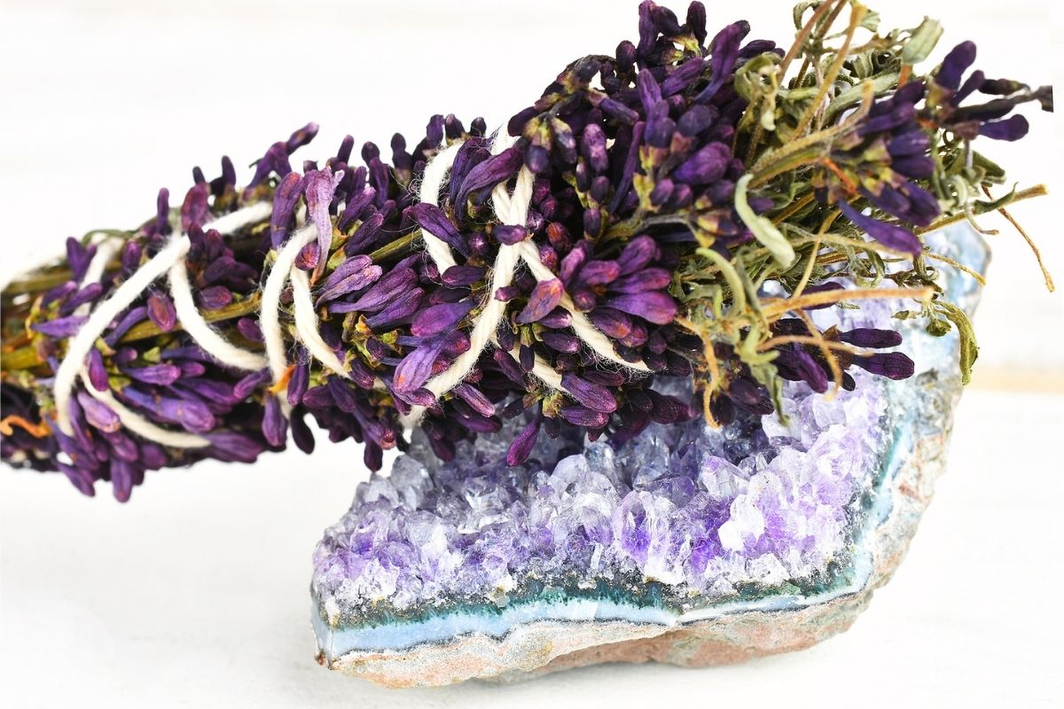 lavender and sage stick for cleansing crystals