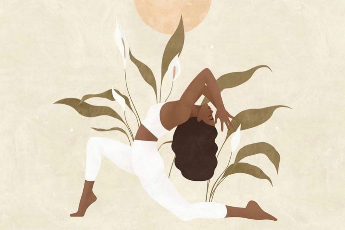 illustration of woman in heart chakra yoga pose with leaves and moon