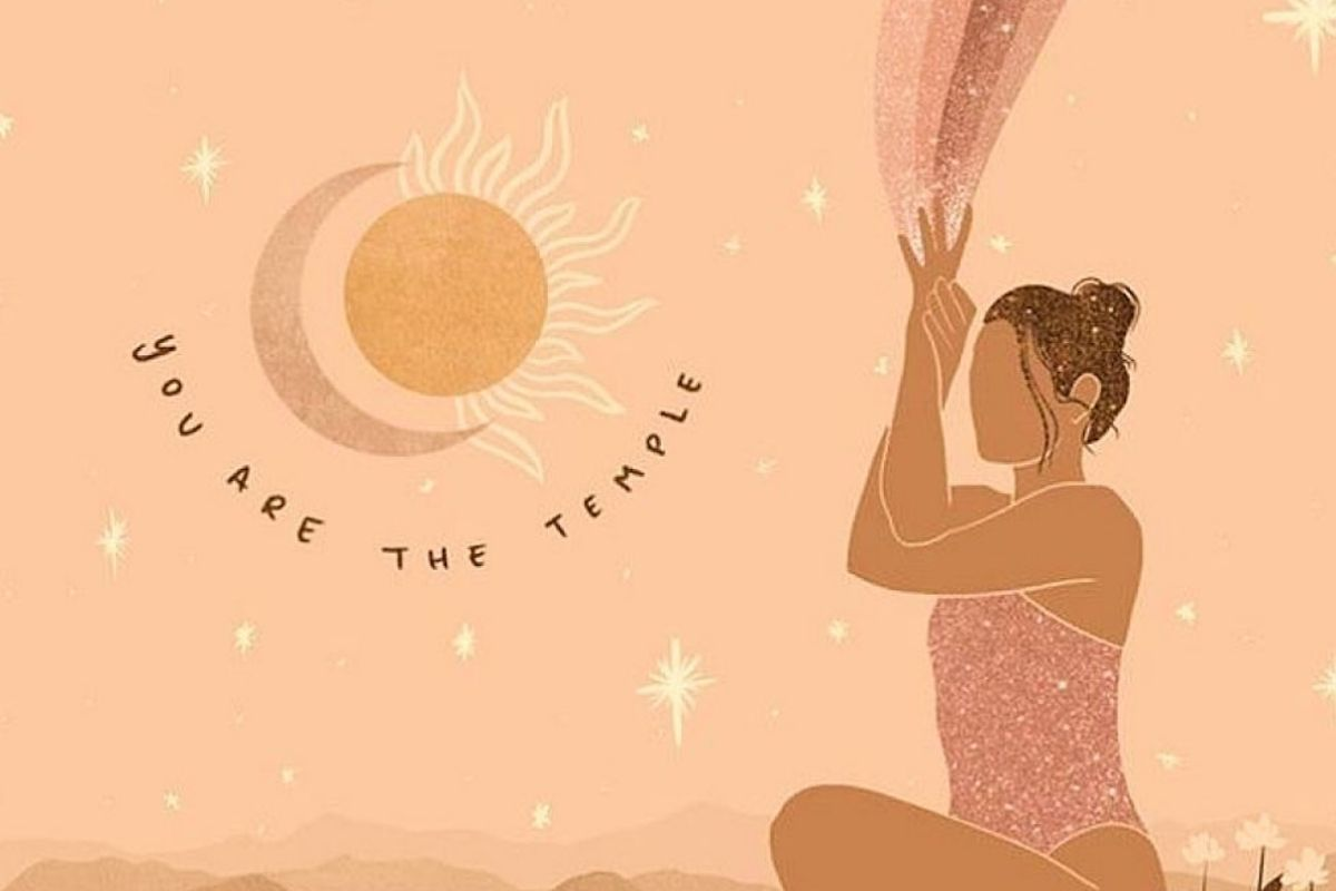illustration of woman with light coming out of hands and slogan 'you are the temple'