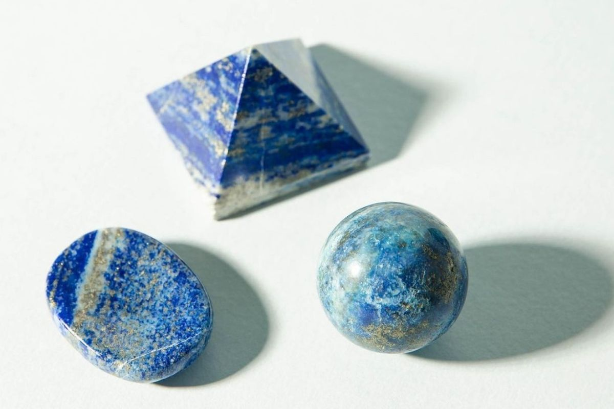 sodalite worry stone, sphere, and pyramid