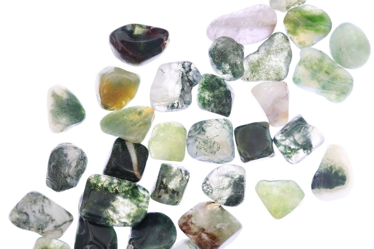 selection of moss agate stones