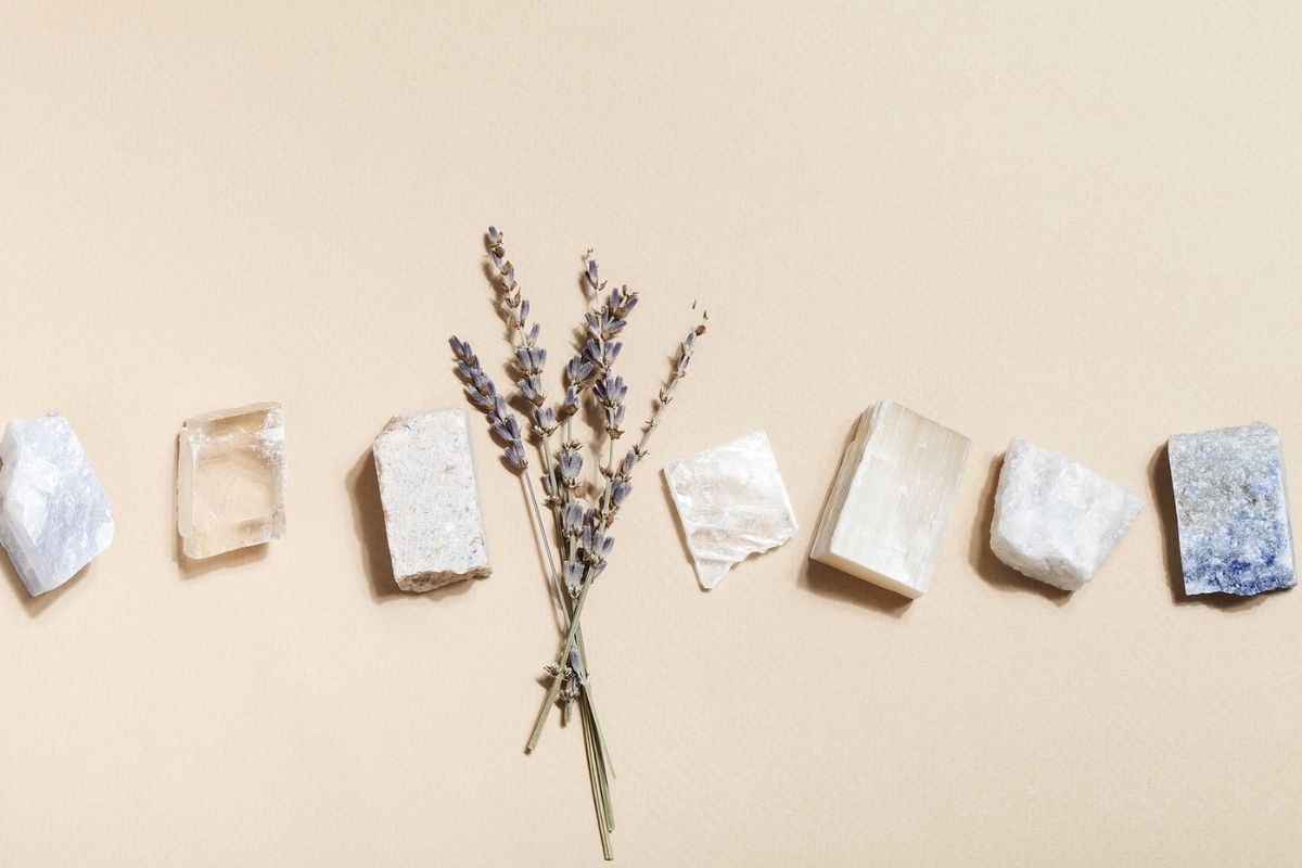 minerals, crystals, and lavender