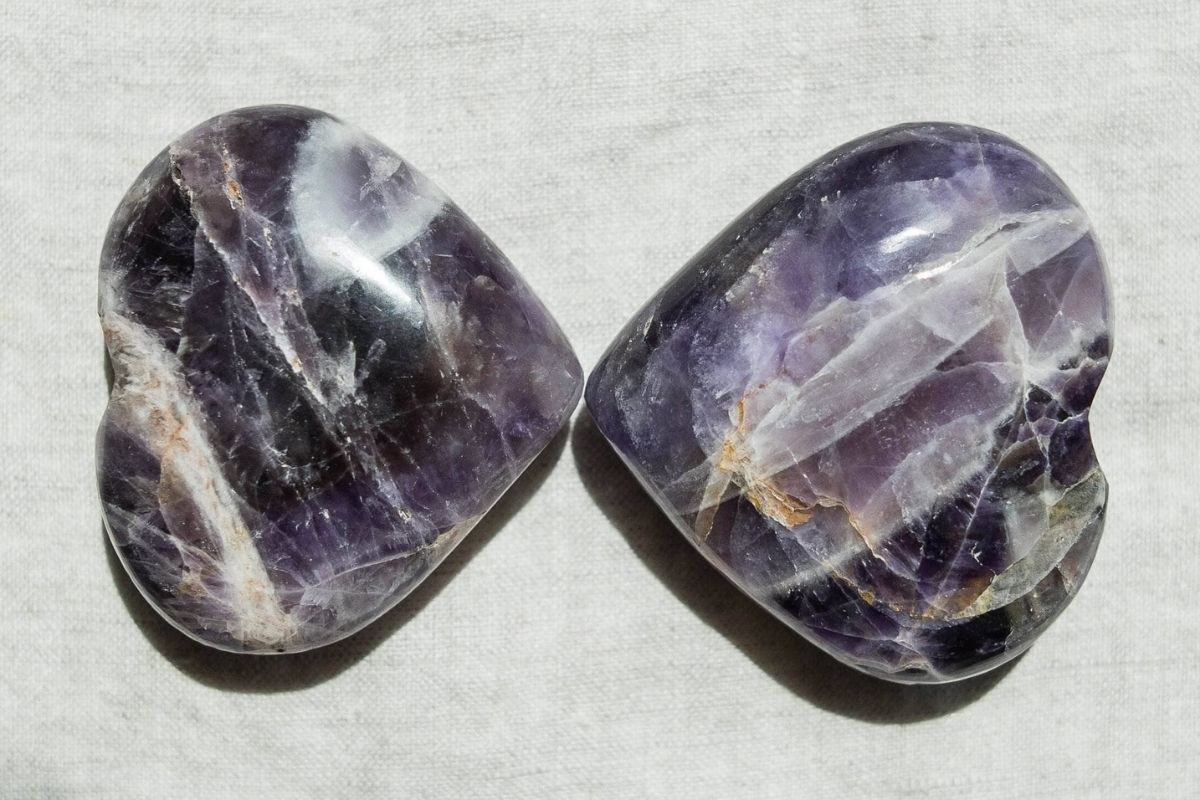 two amethyst hearts from tiny rituals