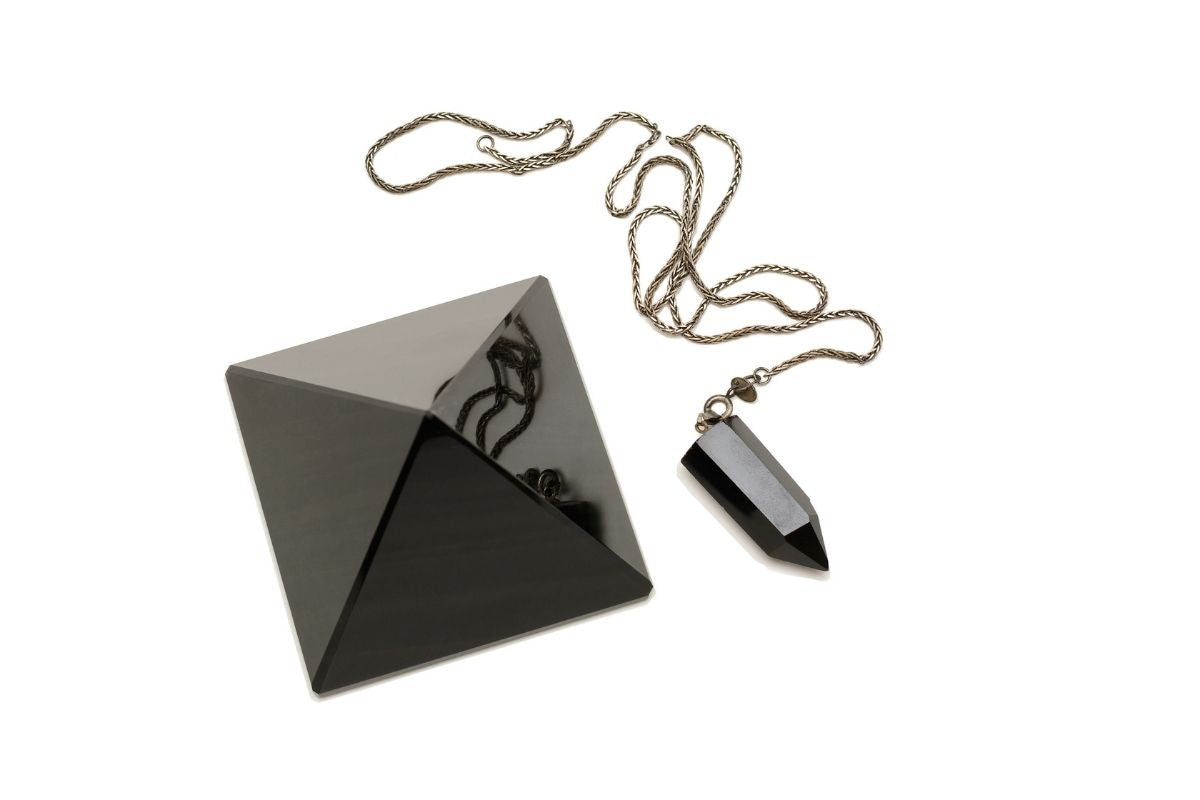 black onyx pyramid and necklace
