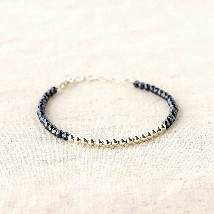 Silver Beaded Black Spinel Bracelet