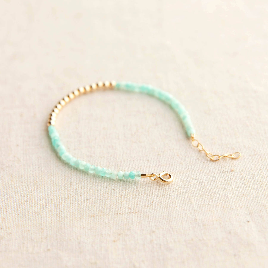Gold Beaded Amazonite Bracelet