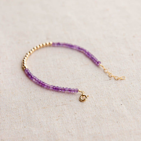 Gold Beaded Amethyst Bracelet