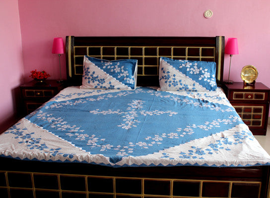 Blue Patchwork Bed Sheet