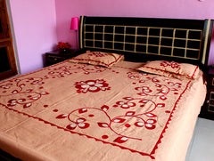 Red Patch work Bed Sheet
