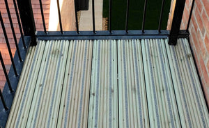 Antislip plus grooved non-slip timber decking shown as a balcony close up