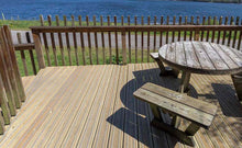 Load image into Gallery viewer, Antislip plus grooved non-slip timber decking shown against a seascape