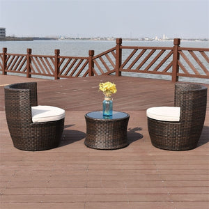 3 Pcs Patio Rattan Stackable Furniture Set