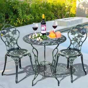 Cast Aluminum Bistro Rose Furniture Set