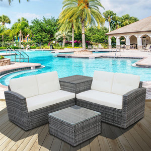 4pcs All-Weather Wicker Outdoor Patio Set With Small Coffee Table