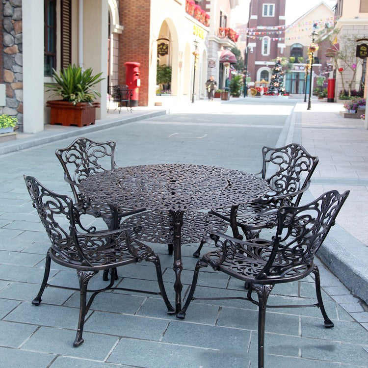 5-piece heavy duty cast aluminum patio furniture dining set