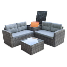 Load image into Gallery viewer, 4pcs All-Weather Wicker Outdoor Patio Rattan Sofa Outdoor Living Furniture Set