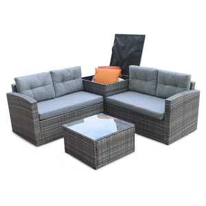 4pcs All-Weather Wicker Outdoor Patio Rattan Sofa Outdoor Living Furniture Set