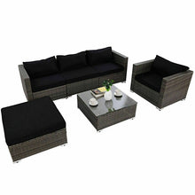 Load image into Gallery viewer, Strong Steel Frame Rattan Wicker Patio Sofa Set with Black Cushion