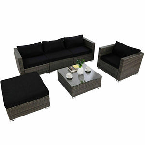 Strong Steel Frame Rattan Wicker Patio Sofa Set with Black Cushion