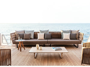 Deep Seating Patio Sofa Set / All Weather Resin Wicker Woven / Rustproof Steel Frame / Dense Antimicrobial Foam Pad