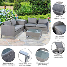Load image into Gallery viewer, 4 Pcs Rattan Patio Sofa Cushioned Seat Wicker Sets
