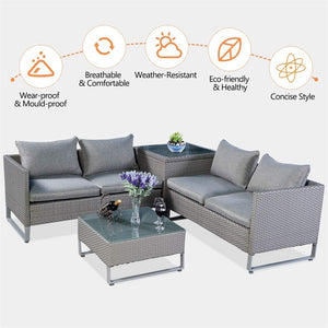 4 Pcs Rattan Patio Sofa Cushioned Seat Wicker Sets