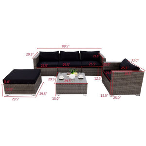 6 Pcs Patio Rattan Wicker Sectional Furniture Set W/ Black Cushions