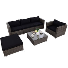 Load image into Gallery viewer, 6 Pcs Patio Rattan Wicker Sectional Furniture Set W/ Black Cushions
