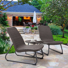 Load image into Gallery viewer, 3 Pcs Outdoor All Weather Rattan Steel Conversation Chair Table Set