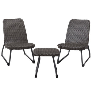 3 Pcs Outdoor All Weather Rattan Steel Conversation Chair Table Set