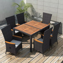 Load image into Gallery viewer, Outdoor Dining Furniture 7pcs Woven Resin and Wattle Black Outdoor Dining Set