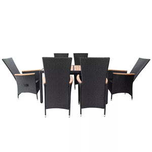 Outdoor Dining Furniture 7pcs Woven Resin and Wattle Black Outdoor Dining Set