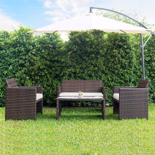 Load image into Gallery viewer, GIANTEX 4 PC/Set Outdoor Rattan Patio Furniture Set