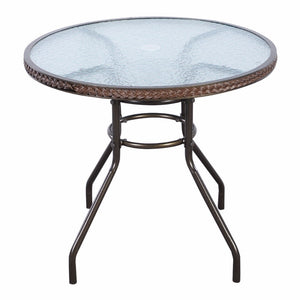 Brown Patio Rattan Round Table with Tempered Glass