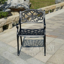 Load image into Gallery viewer, BBQ Garden/Patio Table and 4 Chair Set, Cast Aluminium finished in Black