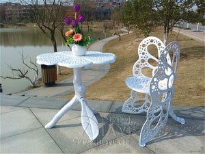 4-piece butterfly cast aluminum dining chair and table patio furniture