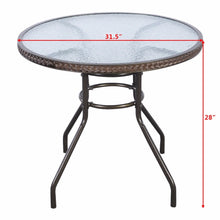 Load image into Gallery viewer, Brown Patio Rattan Round Table with Tempered Glass