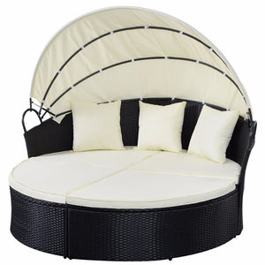 Giantex Outdoor Patio Sofa Furniture Round Retractable Canopy Daybed