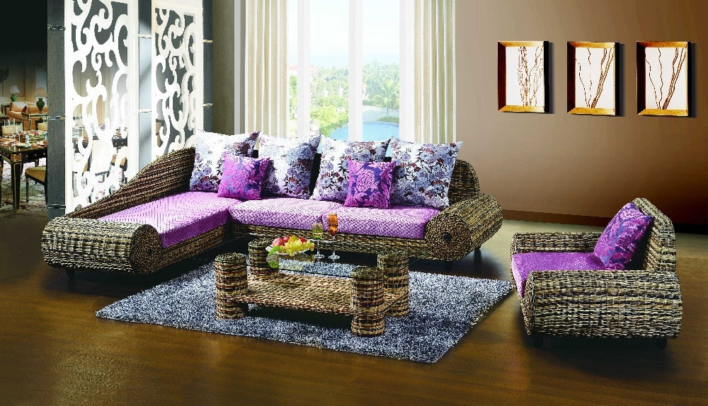 New design outdoor rattan sofa and tea table wicker set