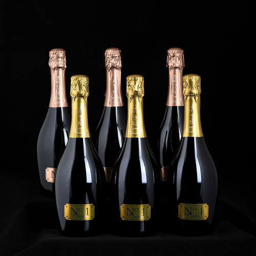Connoisseur mixed case with 3 bottles Cuvee No.1 and 3 bottles No.1 Rose