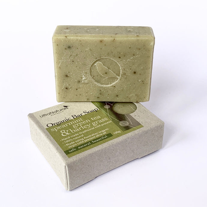 Hand made Bar Soap Spearmint, Green tea & Barley grass