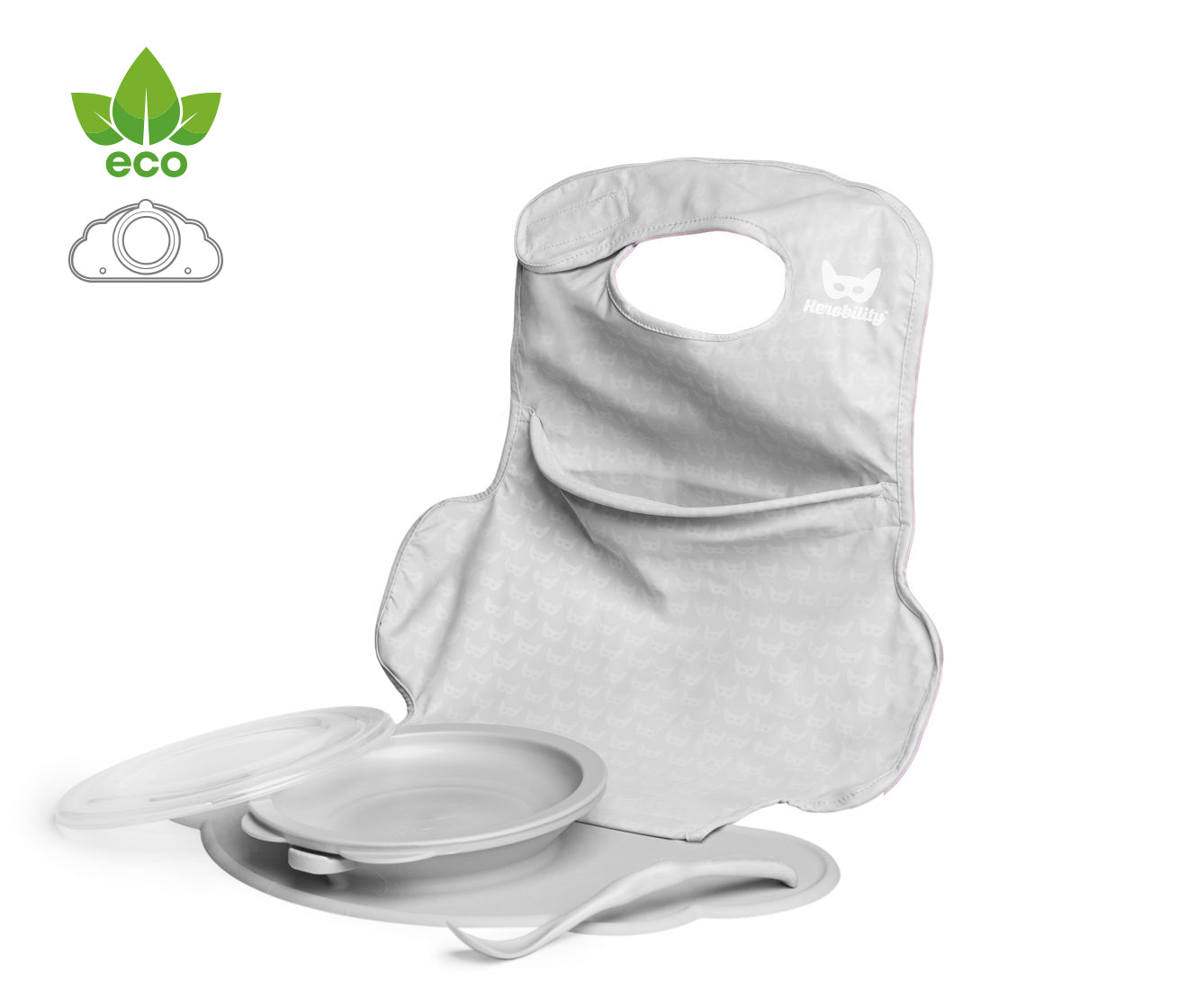 Eco Placemat Feeding Set Mist Gray