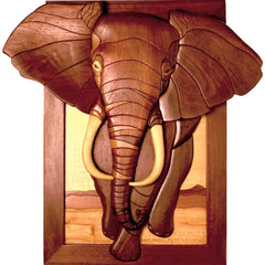 African Elephant Intarsia Pattern