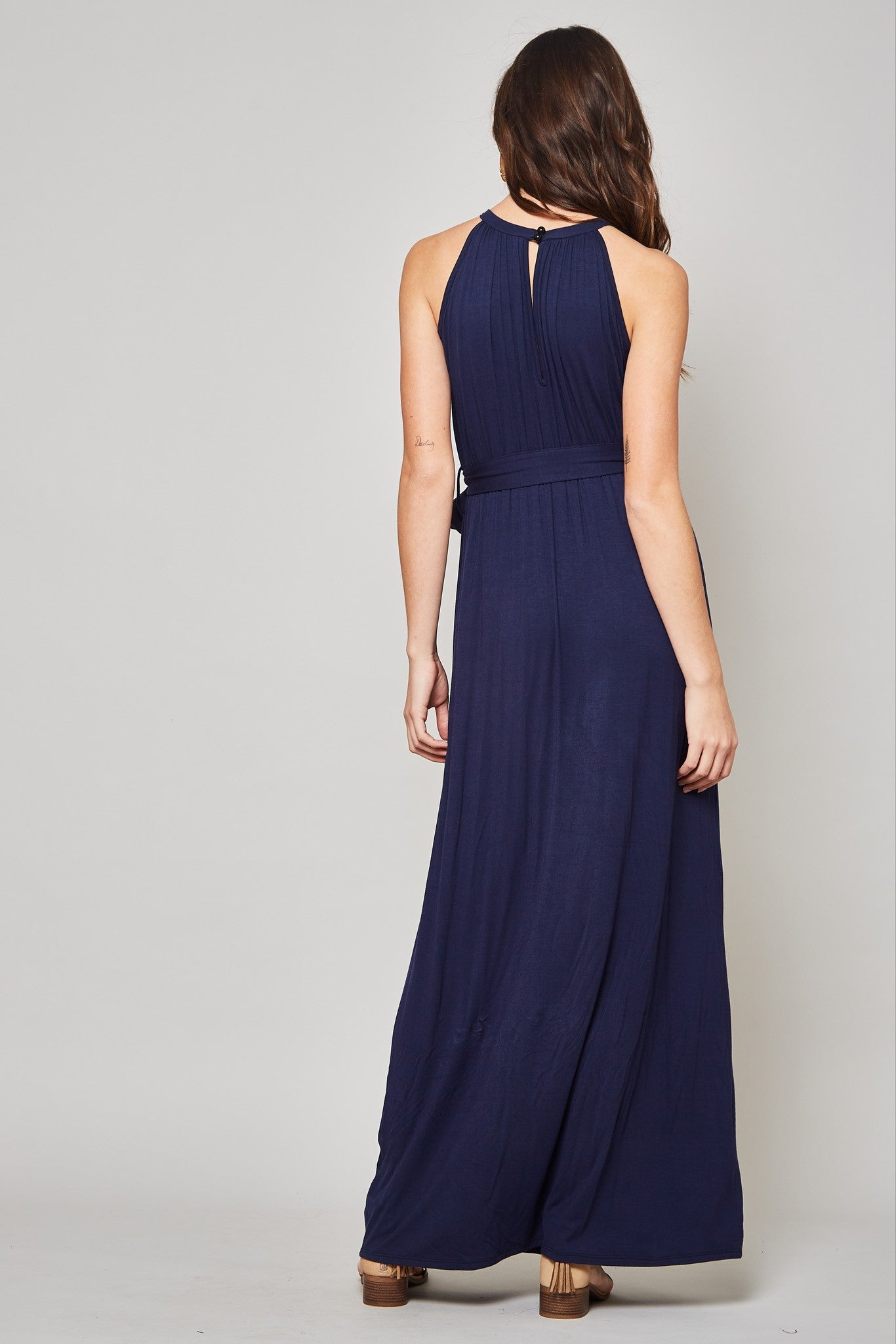 Halter Look Ruched Top Maxi