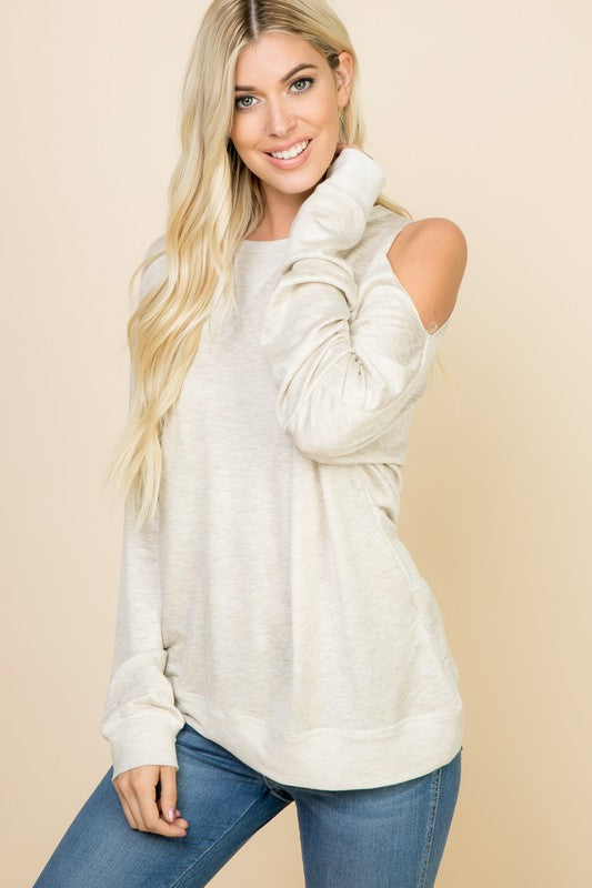 Long Sleeve One Cold Shoulder Top