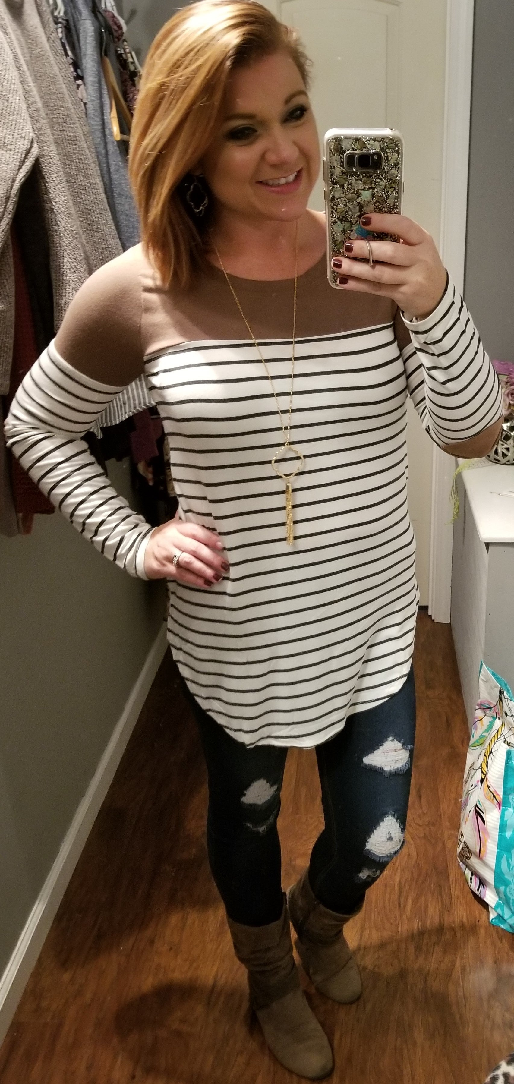 Deal of the Day Stripe Patch Sleeve Top