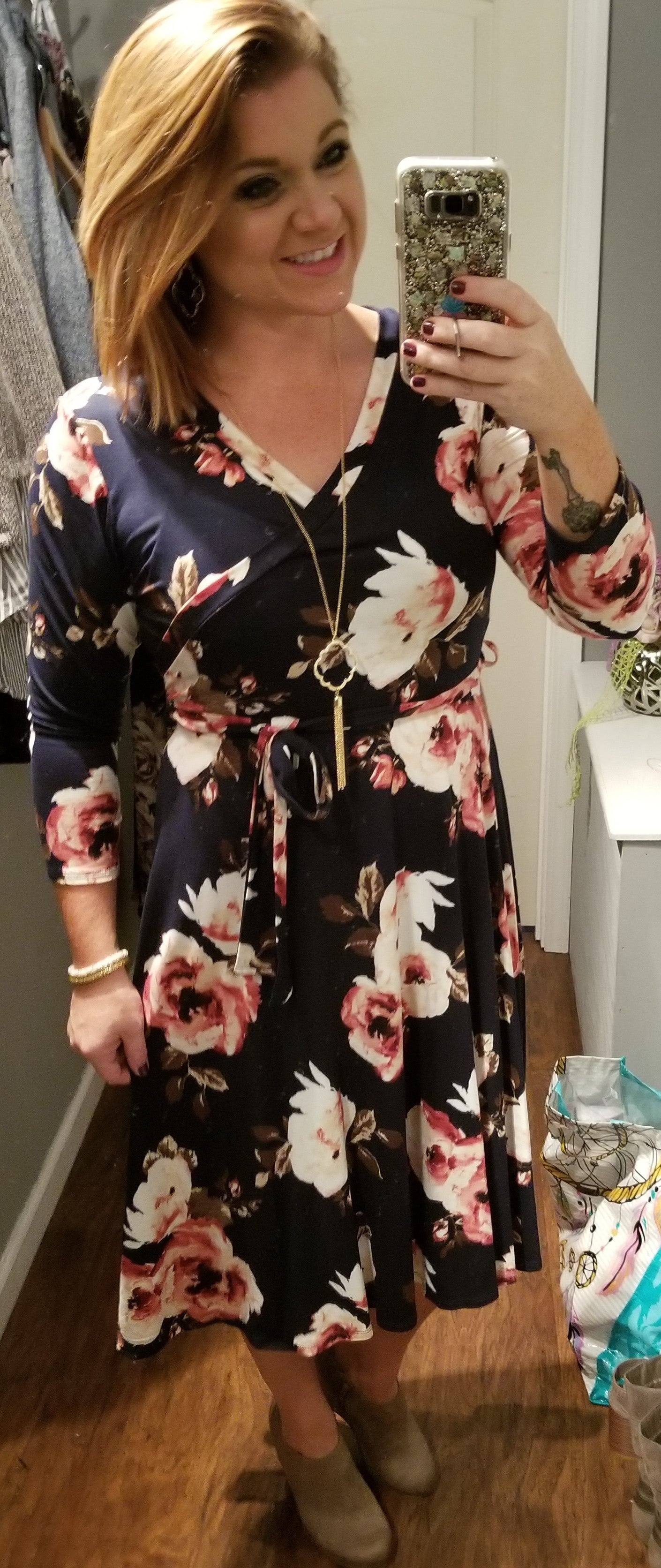 HM Soft Floral Wrap Dress (Regular & Plus)