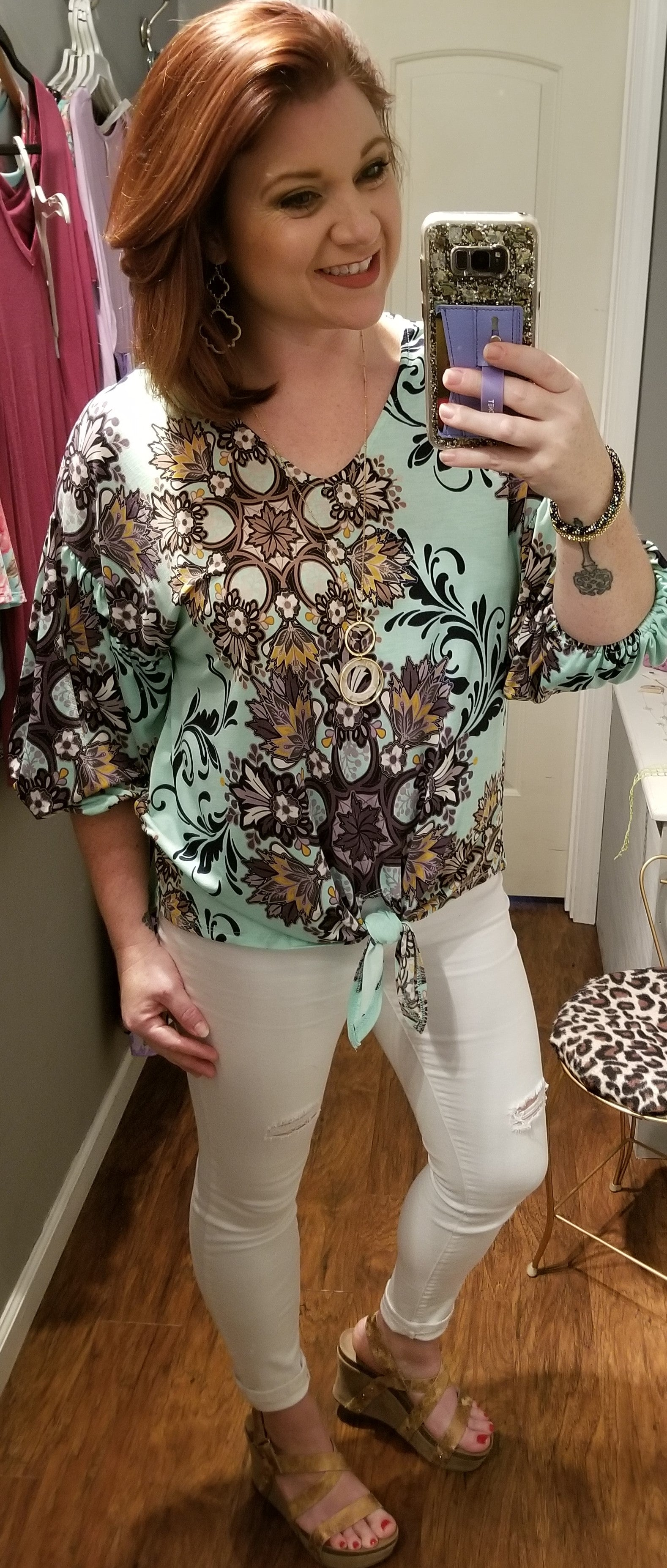 HM Mint Gold Accented Tie Top